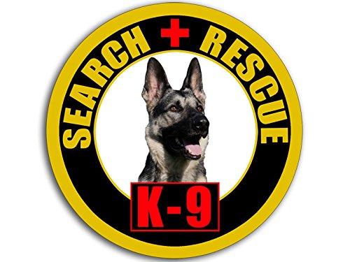American Vinyl Round Black Yellow Red K9 Search Rescue w German Shepard Sticker (k-9 Dog Logo Police)