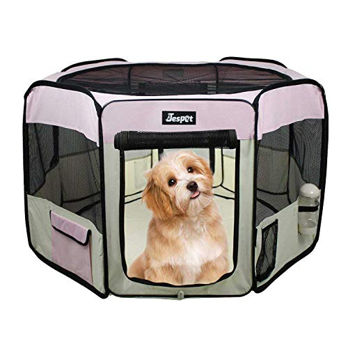 JESPET 36' Pet Dog Playpens, Portable Soft Dog Exercise Pen Kennel with Carry Bag for Puppy Cats Kittens Rabbits, Pink