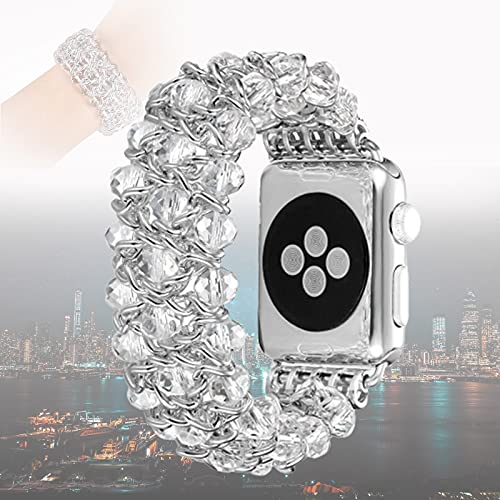 Compatible for Apple Watch Pearl Bracelet 42mm 44mm, Crystal Beads iWatch Band with Metal Gold Chain Jewelry Dressy Replacement Wristband Strap