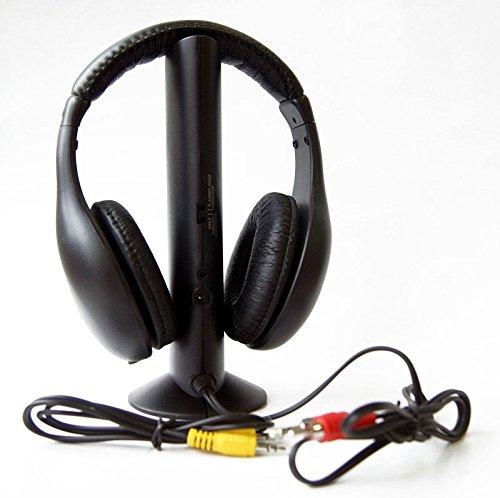 Pritech CC-5001, auriculares inalámbrico con receptor FM 5 en 1, color negro