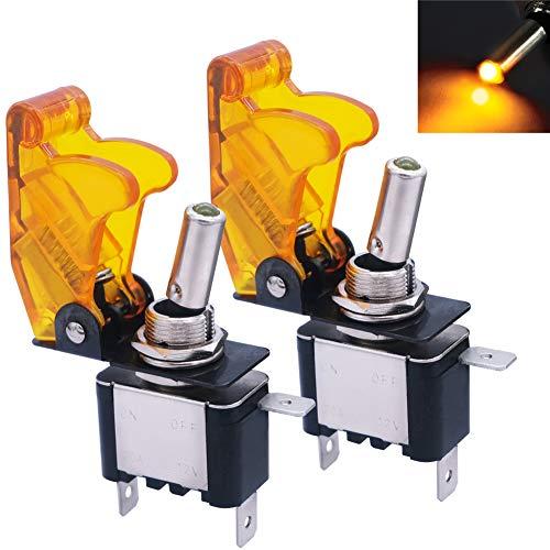 mxuteuk 2 piezas 12V 20A Amarillo Luz LED Interruptor basculante de servicio pesado con cubierta amarilla impermeable SPST ON/Off 3Pin para coche camión barco ASW-07D-Y-YMZ