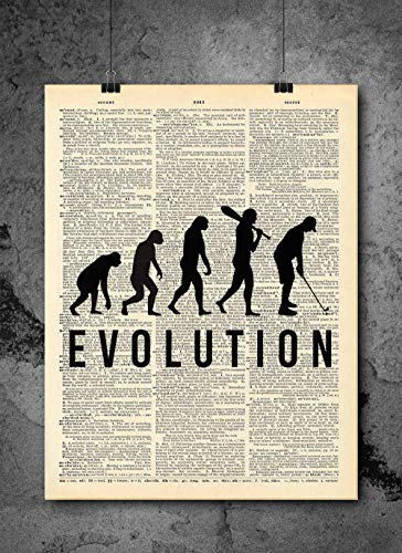 Golf - Evolution Quote Art - Authentic Upcycled Dictionary Art Print - Home or Office Decor (D17)