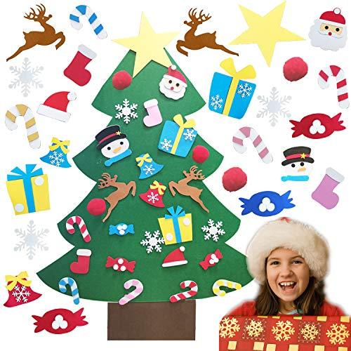 TATAFUN Albero di Natale in Feltro, Alberi di Natale 26 Ornamenti Staccabili Regali di Natale per Bambini 3.2FT DIY Albero Natale di Decorazione della Parete del Portello
