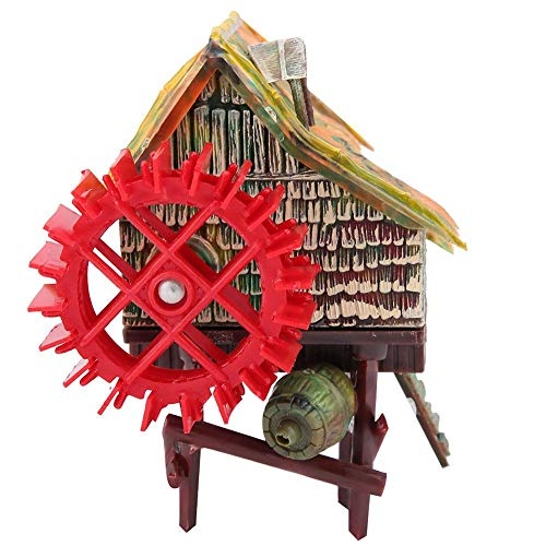 Aquarium Decoration Windmill Resin Construction - Fish Tank Landscaping Decoration - Pneumatic Aerated Waterwheel Hut - Small Water Truck (Small)