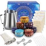 TEPENAR Kit de creación de velas DIY con vaso de acero inoxidable, cera de abeja, clips centrales,...