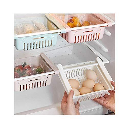 99native Aufbewahrungsbox,Ausziehbarer Kühlschrank,Küche Artikel Lagerung Regal Halter Lebensmittel Organizer Schublade Regal Proper,Kühlschrank Schublade Regal Platte Schicht (Rosa)