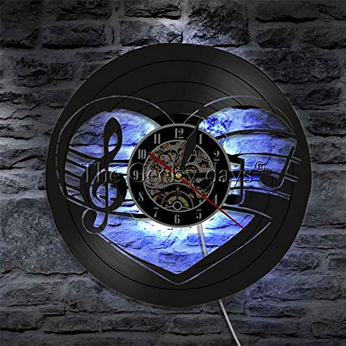 Símbolo de nota musical Clave de sol Luz LED Lámpara de noche Música Corazón Partitura Disco de vinilo Reloj de pared con iluminación LED Regalos para el día de la madre Relojes de pared artísticos
