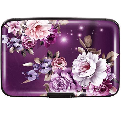 Credit Card Holder for Women,RFID Blocking Slim Hard Mini Flowers Card Case ID Case Travel Wallet Purple