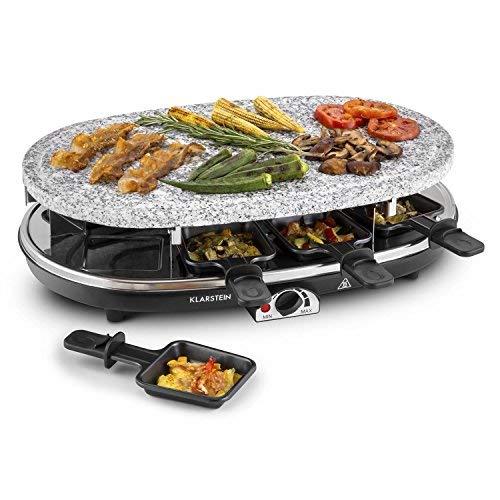 Klarstein Steaklette - Tischgrill, Partygrill, 1500 Watt, 1 x Pancakeplatte, 1 x Crêpes-Platte, 8 Pfännchen, schwarz-Silber