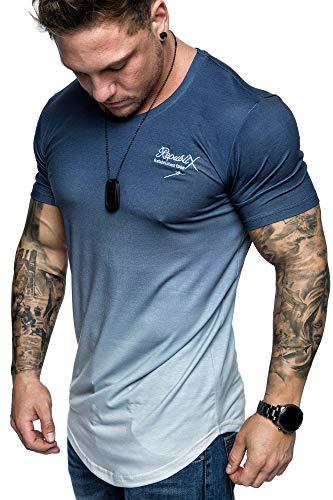 REPUBLIX Oversize Herren Crew Neck Body-Fit Waterfall Design Shirt Sommer T-Shirt Rundhals-Ausschnitt R-0037 Navyblau/Weiß S