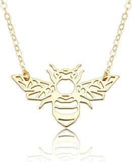 patcharin shop Minimalist Hollow Animal Origami Bee Shaped Pendant Necklace Fashion Jewelry Color Gold