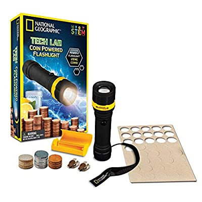 NATIONAL GEOGRAPHIC Tech Lab: Coin Powered Flashlight ? Incredible Science Kit Teaches Kids About Circuits and Electricity, Great STEM Gift for Boys and Girls
