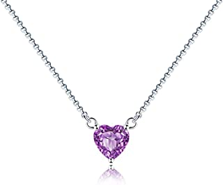 Necklace Jewelry Women's Amethyst Necklace Pendant Heart Necklaces Jewelry Gifts Or Girls Friend Mother Granny Sister Birt...