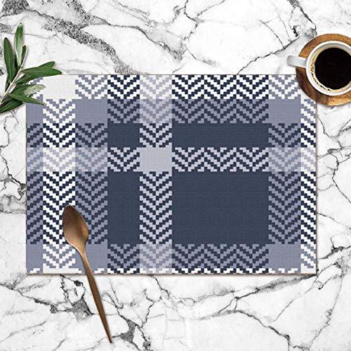 surce blauwe geruite visgraat abstract schoonheid mode wasbare placemats voor eettafel dubbele stof afdrukken polyester plaats matten voor keuken tafel set van 6 tafel mat 12x18 inch