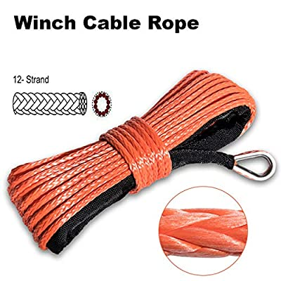 """Synthetic Winch Rope 7500+LBs 50'x1/4"""" Winch cable with Sheath for SUV ATV UTV Winches Truck Boat Ramsey Car"""