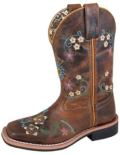 Smoky+Children%27s+Girls+Floralie+Embroidered+Western+Cowboy+Boots+-+Brown+Waxed