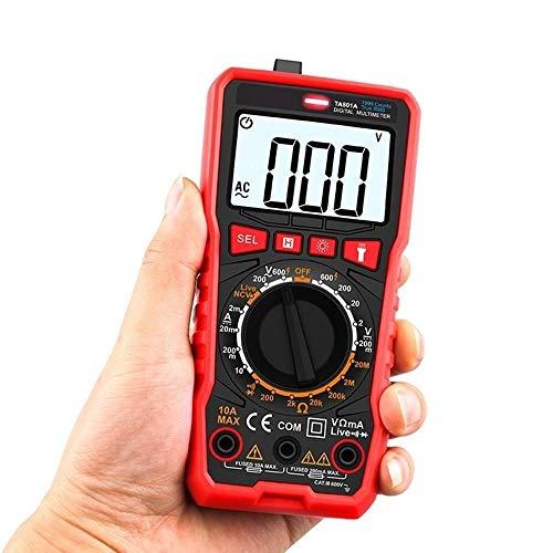 Multímetro de electricista DC voltímetro digital de bolsillo multímetro de verdadero valor eficaz de AC / ohmio del amperímetro del diodo de capacidad resistente Fruquency NCV probador de continuidad