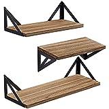 BAYKA Floating Shelves Wall Shelf Mounted, Decorative Rustic Wood Hanging Shelving Set of 3 for...