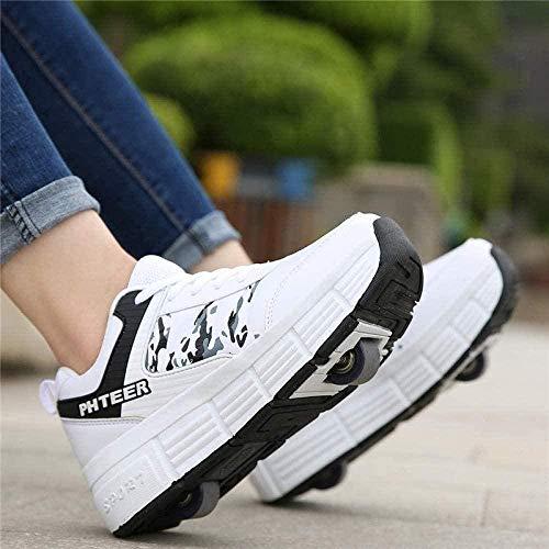 Scarpe con Rotelle Scarpa da Fitness per Ragazze Scarpe da Skateboard Ragazzi Sport all'Aria Aperta Scarpe da Ginnastica,White-38
