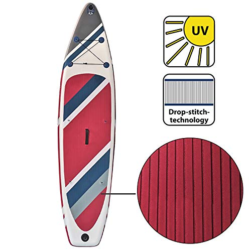 ALPIDEX Stand Up Paddle Gonfiabile 320 x 76 x 15 cm ISUP Portata Massima 130 kg Tavola SUP Leggero Stabile Set Completo, Colore:Fire