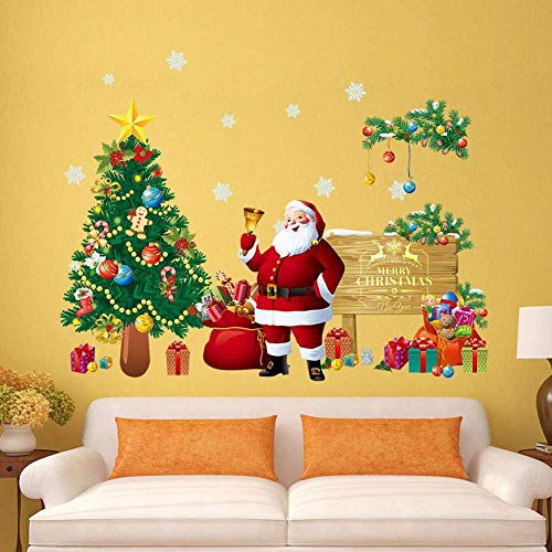 Santa Claus Christmas Tree Gifts Wall Decals Kids Living Room Bedroom Shop Window Removable Wall Stickers Murals DIY Home Decorations Art Decor Merry Christmas Wall Stickers (Merry Christmas)