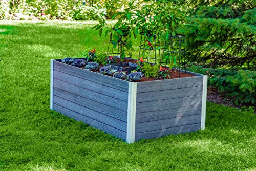 Find Cheap Vita Gardens VT17602 Urbana 3×5 Keyhole Garden Bed, Slate Grey