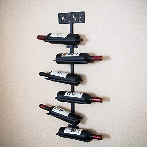 YZT QUEEN Wandmontage wijnrek displaystandaard, metalen flessenhouder, kan 6 flessen wijn bevatten (kleur: zwart, afmeting: 80 * 25 * 10cm)