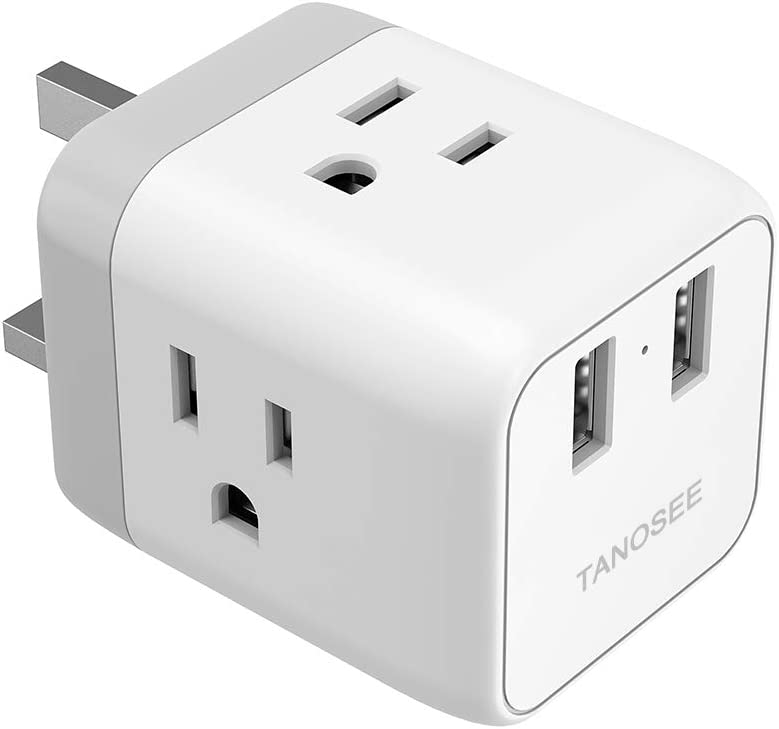 UK Ireland London Power Adapter, TANOSEE UK Travel Plug Adapter with 2 USB Charger and 3 American Outlets, US to British Scotland England Hongkong Adaptor (Type G Plug)