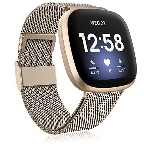 Funbiz Metal Correa Compatible con Correa Fitbit Versa 3/Correa Fitbit Sense, Pulsera de Repuesto de Metal de Acero Inoxidable con Longitud Ajustable para Mujeres Hombres, Pequeño Oro Vendimia
