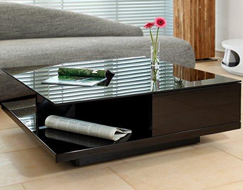 SalesFever Couch-Tisch schwarz Hochglanz mit Schublade 100x100cm quadratisch | Carla | Moderner Wohnzimmer-Tisch mit Tischplatte aus Kristallglas 100cm x 100cm