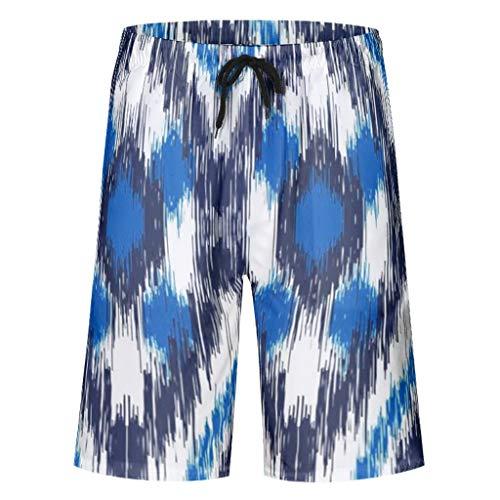 Lind8 Heren & Jongens Shorts Blauw Diamant Klassieke Fit Zwemmen Elastische Zwembroek - Tekenen Drukkerij Ondergoed met Zakken & Elastische Taille
