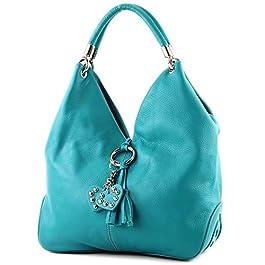 modamoda de – shopper sac à main en cuir italien sac à bandoulière 330, Couleur:Türkis_1