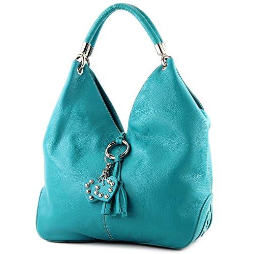 modamoda de - 330 - ital Handtasche Shopper Schultertasche Leder, Farbe:Türkis_1