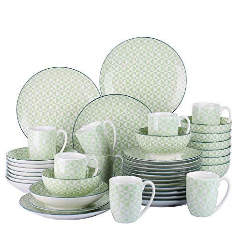 vancasso MIDORI Juego de Vajillas 40 piezas, Modernas Vajillas Completas de Porcelana con Tazas, Platos Hondos/Placa para 8 Personas