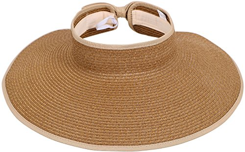 Simplicity Women's Wide Brim Straw Sun Visor Roll-up Sun Hat Light Coffee