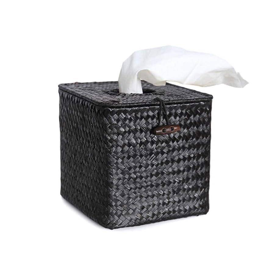 原告退屈させる表面的なVosarea バスルームデスクホテル用ペーパーシーグラス手織りナプキンティッシュボックスカバーホルダー(ブラック+最小販売5pcs)