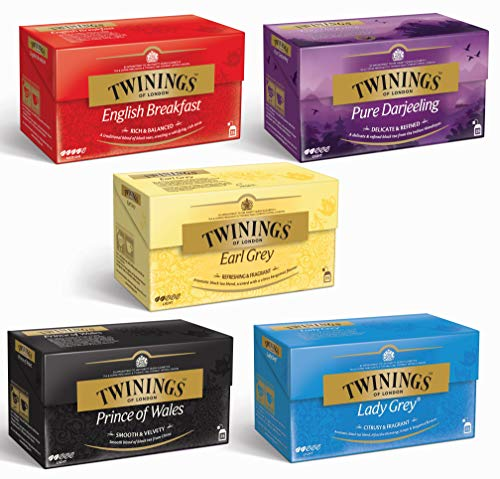 Twinings Schwarztee 5er Mix - 5 x 25 Teebeutel - English Breakfast, Earl Grey, Pure Darjeeling, Lady Grey, Prince of Wales (5x50g)