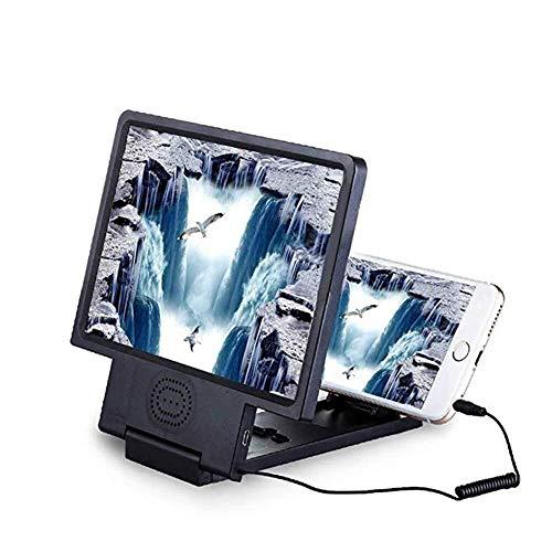 HJXSXHZ366 loep voor smartphones, vergrootglas met 3D-beeldscherm, loep, stereo-projectie, mobiele telefoon, vergrootglas, videoversterker, houder met luidspreker, 8,5 inch