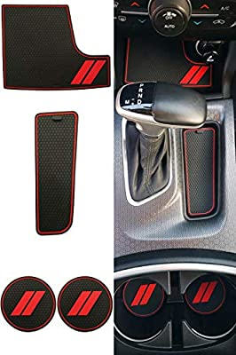 GRIDREADY Custom Fit for 2015-2020 Dodge Charger Cup Holder Insert & Center Console Shifter Liner Trim Mats   Custom Fit Non Slip Storage Bin Mat Set   Interior Accessories (4 pcs)