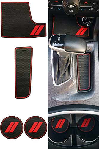 REVION Autoworks Custom Fit for 2015-2020 Dodge Charger Cup Holder Insert & Center Console Shifter Liner Trim Mats | 21pc Custom Fit Non Slip Storage Bin Mat Set | Charger Interior Accessories (4pcs)