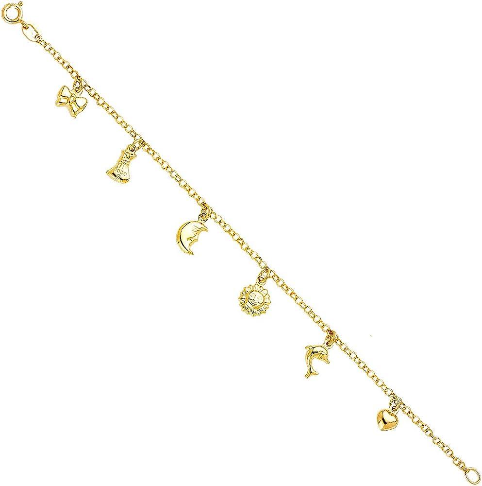 Yellow Hanging Now on sale Cheap bargain Charm Bracelet Length 7.0'' Gold 14k