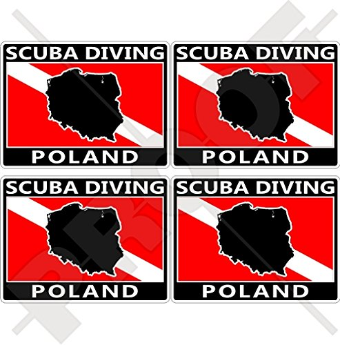 POLAND SCUBA Duiken Vlag-Poolse Kaart Vorm 50mm (2