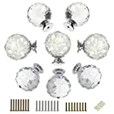 BTSKY 8 Pcs Round Diamond 40mm(1.6 inches) Clear Glass Crystal Cabinet Knobs--Cupboard Door Knobs/ Crystal Drawer Pull Handles/Glass Dresser Knobs with 3 Kinds of Screws