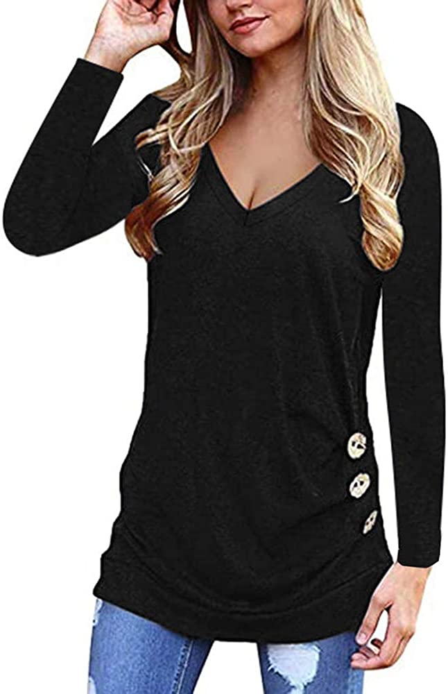 Women Long Sleeve V Neck T Shirts Loose Fitting Tunic Solid Color Tops Plain Casual Blouse Camisas de Mujer