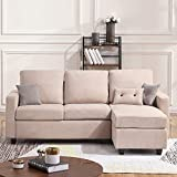 Moderno Microfiber Sectional, L-Shaped Couch Sofa with Reversible Chaise Lounge Storage Ottoman and Cup Holders Furniture Set
