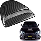 Workhorse FasTrack FT1261 Performance Engine Parts - Mega Racer Carbon Fiber Automotive Hood Scoops for Cars - JDM Racing Style Front Decorative Air Vents with Aero Dynamic Air Flow Exterior Intake Cover 3M Tape Adhesive, Universal Fit Car Wash Safe