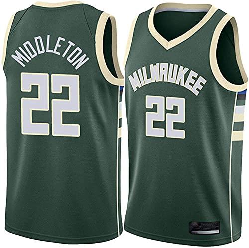 ZMIN Jerseys de Baloncesto para Hombre, Milwaukee Bucks # 22 Middleton Verano Uniformes de Baloncesto Casual Sueltos Camisetas Chalecos de Secado rápido,Verde,L