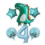 JSJJARF Globos 6pcs 40 Pulgadas Globos Número Azul Claro con el Dinosaurio Corona Globo Muchacho de los niños Dinosaurio Party Decor (Color : Lovely 4)