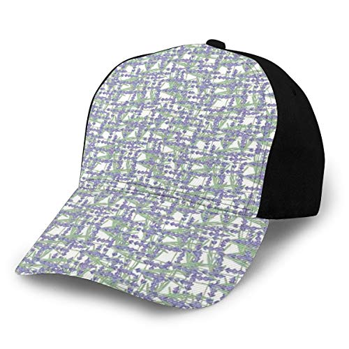 Hip Hop Sun Hat Baseball Cap,Grid Design with Springtime Herbs Aromatic Fragrant...