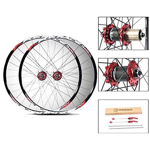 Bicicleta de Ruedas 26/27,5 Pulgadas Freno de Disco del Doble Pared de Aleación de Aluminio MTB Juego de Ruedas de Liberación Rápida Hub Carbon 7/8/9/10/11 Velocidad ( Color : Red , Size : 27.5inch )